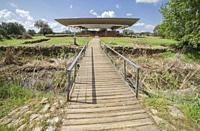 Footbridge access to Cancho Roano archaelogical site. Zalamea de la Serena, Badajoz, Extremadura, Spain.