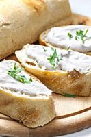 anchovy spread on white baguette.
