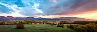 View of Mala Fatra mountains and Turiec basin at sunrise, Slovakia.