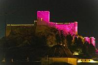 Castle of Almansa. in pink. Albacete