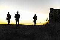Silhouettes of hikers. Sierra del Caroche. Quesa. Valencia