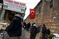 Traveling around Istanbul. Woman in the foreground with Nicanor in a food market.