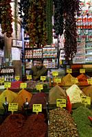 Traveling around Istanbul. Market stall for spices.