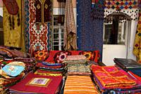Traveling around Istanbul. Colorful of different typical Turkish fabrics.