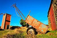 Cart in a field close to Lamoso, Mogadouro, Portugal.