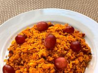 Migas with grapes. Spain.