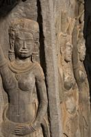 Carvings of apsara dancers, Angkor Wat temple, Siem Riep, Cambodia.