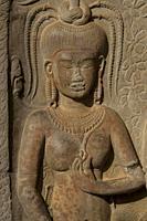 Carving of apsara dancer, Angkor Wat temple, Siem Riep, Cambodia.