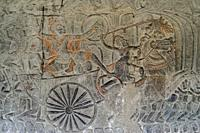 Carvings of King in chariot going to war, Angkor Wat temple, Siem Riep, Cambodia.