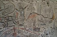 Carvings of warrior on elephant going to war, Angkor Wat temple, Siem Riep, Cambodia.