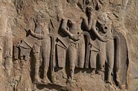 Carvings of disintegrating apsara dancers, Angkor Wat temple, Siem Riep, Cambodia.