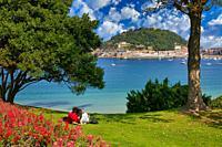 La Concha bay, Miramar Palace Gardens, Donostia, San Sebastian, Gipuzkoa, Basque Country, Spain