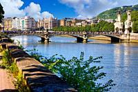 Urumea River, Maria Cristina bridge, Donostia, San Sebastian, Basque Country, Spain,