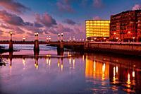 Urumea river mouth, Zurriola bridge, Kursaal, Donostia, San Sebastian, Basque Country, Spain,