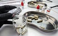 Criminalistic Laboratory, Bullet shell analysis, conceptual image.
