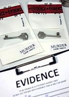 keys in evidence bag, crime lab criminal investigation, conceptual image.