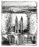 Old engraving with a general panoramic view of the city of Tours, Cathedral of Saint Gatien, Hotel Gouin, The tomb of the children of Charles VIII in ...