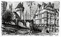 Maison d'Adam. House of Adam Philippe (1740-1793) Place Sainte Croix square, Angers. Department of Maine-et-Loire, Pays de la Loire. France. Old 19th ...