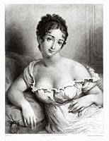 Portrait of Madame Récamier. Jeanne Francoise Julie Adélaide Récamier (1777-1849) known as Juliette, was a French socialite, whose salon drew Parisian...