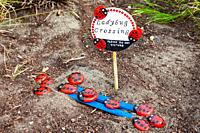 Child's ladybird art installation in a public park flowerbed in Steveston British Columbia Canada.