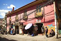 Colonial buildings with balconies used as shops selling art and craft at the historic center, La Paz, Pedro Domingo Murillo Province, Bolivia, South A...