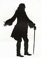 A paper cutting or silhouette of Henry Fielding by Hugh Thomson. Henry Fielding, 1707 1754. English novelist and dramatist. From A Bookman's Budget, p...