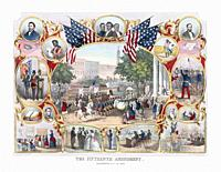 Print dating from the 1870's celebrating the enactment of the 15th Amendment which was ratified on February 3, 1870. Part of the amendment states, The...