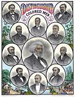 Distinguished Colored Men. After a work published in the early 1880â. The portraits are of African Americans Frederick Douglass, Robert Brown Elliott,...