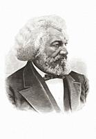 Frederick Douglass, 1818 1895. African-American, who was born a slave, escaped and became an abolitionist, author, and statesman. After a portrait pub...