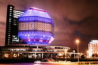 MINSK, BELARUS. Unique Building Of National Library Of Belarus In Minsk At Night Scene. Building Has 23 Floors And Is 72-metre High. Library can seat ...
