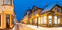 Parnu, Estonia. Night View Of Famous Ruutli Street With Old Buildings And Houses In Evening Night Illuminations.