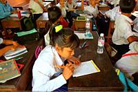 School children in elementary school near Siem Reap In Cambodia Asia