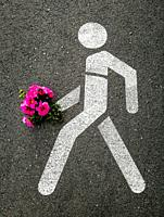 Pedestrian traffic sign with bouquet of pink flowers on the road in Casa de Campo, MADRID, SPAIN, EUROPE.