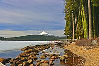 Mount McLoughlin from the shore of a frozen Lake of the Woods in Southern Oregon.