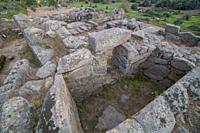 Hijovejo archaeological site. Main chamber. Fortified roman enclosure on top granite scree. Quintana de la Serena, Extremadura, Spain.