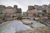 Hijovejo archaeological site. Main gate. Fortified roman enclosure on top granite scree. Quintana de la Serena, Extremadura, Spain.