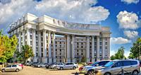 Kyiv, Ukraine. Historical house of the Ukraine Ministry of Foreign Affairs in Kyiv, Ukraine, on a sunny summer morning.