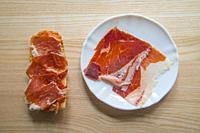 Bread with Iberian ham. Spain.