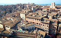 Siena from above, roofs, il Duomo, cathedral , houses, streets,.