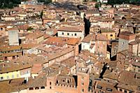 Siena from Campanile del Mangia, roofs, houses, medieval city.