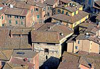Siena from above, medieval city, roofs.