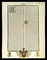 The Siete Partidas, Castilian statutory code first compiled by Alfonso X of Castile. Meinardo Ungut and Estanislao Polono 1491 Edition, El Escorial Li...