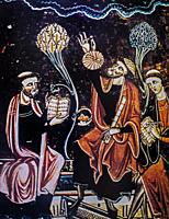 Medieval astronomers. Libro de los Juegos or Book of games, commissioned by Alfonso X of Castile in 1283. El Escorial Library, Spain. Detail.