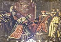 Boabdil, last King of Granada, prisoner of Ferdinand II of Aragon in Cordoba. Painted by Jose Maria Rodriguez Losada. Detail. Real Circulo de la Amist...