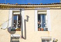 Facade of house. Aoslos, Madrid province, Spain.