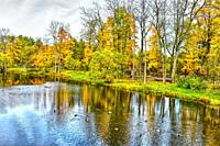 Emperop pond and Brige. Pushkin Tzarskoe Selo Russia.