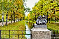 Beautiful autumn landscape and Dragon Bridge.