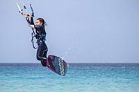 kitesurfing on Illete beachFormentera, Pitiusas Islands, Balearic Community, Spain.