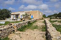 traditional stone walls, typical rural house, Formentera, Pitiusas Islands, Balearic Community, Spain.