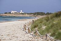 Es Cavall den Borras beachs, Formentera, Pitiusas Islands, Balearic Community, Spain.
